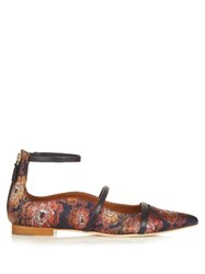 Malone Souliers Robyn Point Toe Jacquard Flats Navy Multi