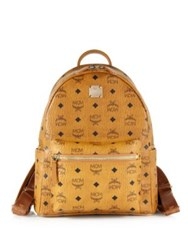 Mcm Stark Small Coated Canvas Monogram Backpack Cognac Black