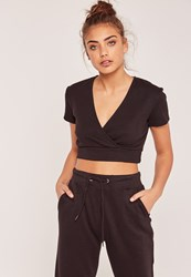 Missguided Short Sleeve Wrap Over Ribbed Crop Top Black