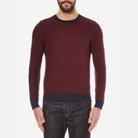 Boss Orange Men's Kuvudo Textured Knitted Jumper Dark Blue