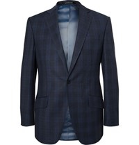 Richard James Blue Hyde Slim Fit Checked Wool Suit Jacket Navy