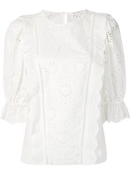 Veronica Beard Lace Panel Blouse White