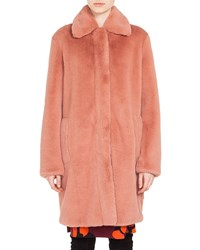 Akris Punto Spread Collar Zip Front Faux Fur Coat Blush