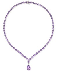 Macy's Amethyst 28 Ct. T.W. Statement Necklace In Sterling Silver