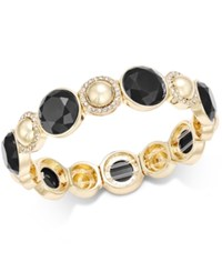 Charter Club Gold Tone Pave Colored Stone Stretch Bracelet Only At Macy's Black