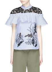 Self Portrait Floral Embroidered Frill Lace Yoke Stripe Shirt Blue