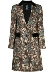 Guild Prime Floral Swing Coat Acrylic Polyester Rayon Brown