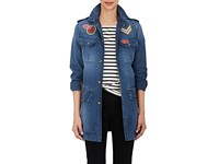 Mr And Mrs Italy Women's Appliqued Cotton Field Jacket Blue
