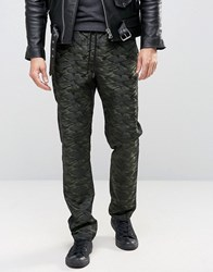 Asos Straight Trousers In Tonal Camo Design Khaki Green