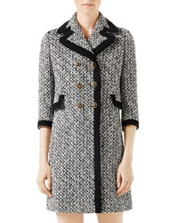Gucci Tweed Double Breasted Coat W Contrast Trim Multi Multi Colored