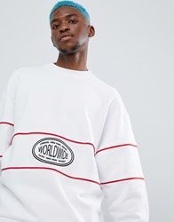 Asos Design Oversized Sweatshirt With Worldwide Embroidery And Piping Black