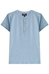 A.P.C. Cotton Henley Shirt Blue