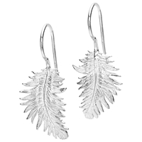 Dower And Hall Small Feather Sterling Silver Drop Earrings