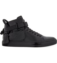 Buscemi 100Mm Padlock Patent Leather High Top Trainers Black