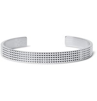 Le Gramme Grae 23 Guilloche Studded Sterling Silver Cuff Silver