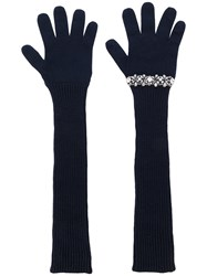 N 21 No21 Sequinned Ribbed Gloves Women Cotton Virgin Wool Metal Glass One Size Blue