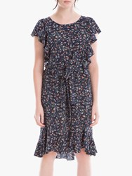 Max Studio Cap Sleeve Floral Print Frill Dress Navy