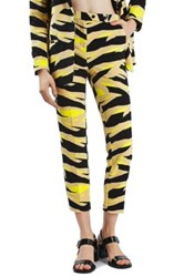 Topshop Tiger Print Cigarette Trousers Yellow