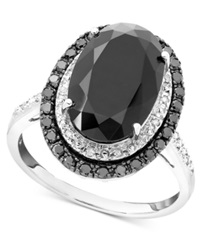 Macy's Sterling Silver Onyx And Diamond 1 3 Ct. T.W. Ring