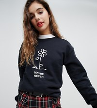 Adolescent Clothing Oversized Sweatshirt With Maybe Never Print Black