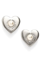 Marc By Marc Jacobs Women's Faux Pearl Heart Stud Earrings Silver