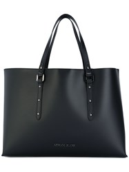 Armani Jeans Logo Plaque Shopping Tote Women Pvc One Size Black