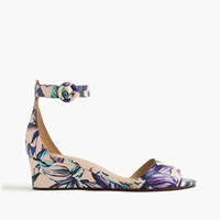 J.Crew Laila Leather Wedges In Floral Pale Buff