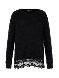 Mela Loves London Fluffy Lace Trim Jumper Black
