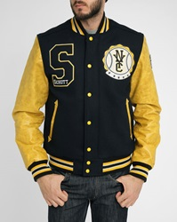 Schott Nyc Navy Yellow Leather Patch Wool Baseball Jacket
