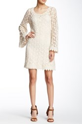 Champagne And Strawberry Long Sleeve Lace Mini Dress White