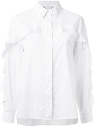 Muveil Embellished Neck Shirt White