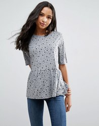 Pieces Hala Peplum Tee Light Grey