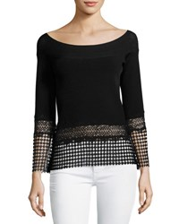 Elie Tahari Alisha Lace Trim Bateau Neck Sweater Black