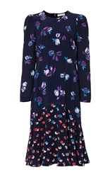 Rebecca Taylor Long Sleeve Print Mix Dress Navy