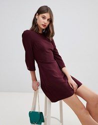 Warehouse 3 4 Sleeve Shift Dress In Plum Purple