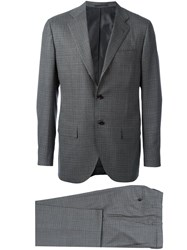 Kiton Checked Suit Grey
