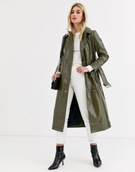 Topshop Vinyl Trench Coat With Contrast Stitching In Green