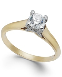 X3 Certified Diamond Engagement Ring In 18K Gold Or 18K White Gold 1 2 Ct. T.W. Yellow Gold