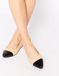 Warehouse Point Leather Ballet Flats Beige