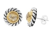 Pomegranate Silver And Vermeil Mix Rope Edge Studs With Citrine