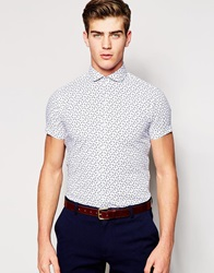 Red Eleven Short Sleeve Slim Fit Shirt In Anchor Print Blue