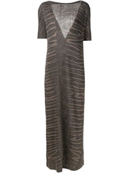 Raquel Allegra Tie Dye Print Long Dress Grey