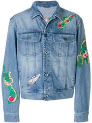 Versace Floral Embroidery Denim Jacket Cotton Polyester Blue