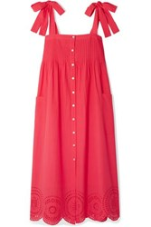 Hatch Sylvie Broderie Anglaise Cotton Voile Midi Dress Red