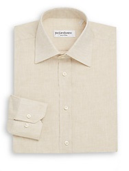 Yves Saint Laurent Regular Fit Linen Dress Shirt