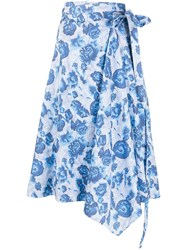 Pringle Of Scotland Floral Wrap Skirt Blue