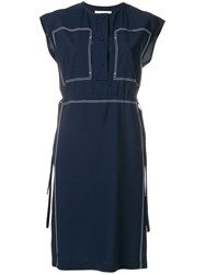 Ports 1961 Stitch Detail Drawstring Waist Dress Blue