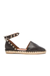 Valentino Rockstud Double Flat Leather Espadrilles In Black