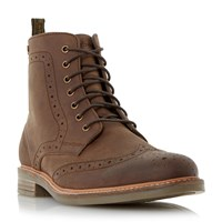 Barbour Belsay Leather Brogue Boots Tan