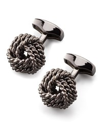 Knot Round Cuff Links Gunmetal Tateossian Grey